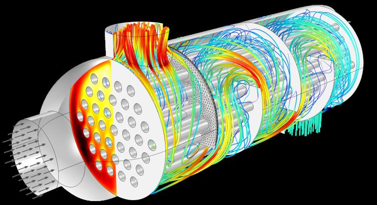 Иллюстрация поля течения и температуры в кожухотрубном теплообменнике