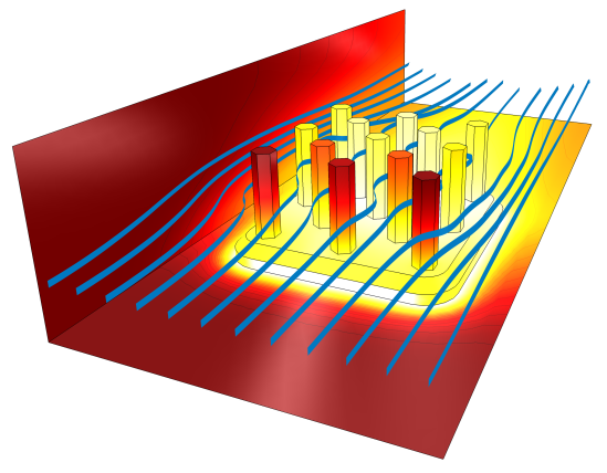 Forced convection: Streamlines and temperature profile around a heat sink
