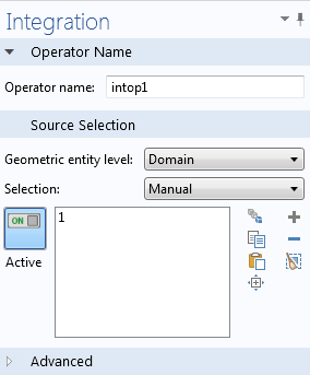 Integration operator settings window