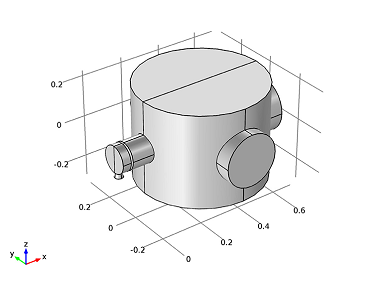 COMSOL model geometry of a differentially pumped vacuum system