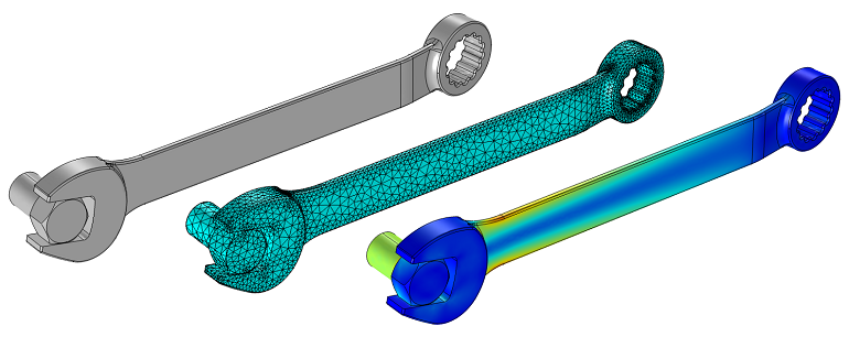 model of an imported, meshed, and solved wrench and bolt