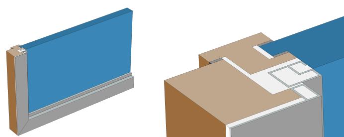 Поперечное сечение окна и увеличенный фрагмент оконной рамы.