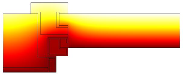 Иллюстрация профилей температуры в поперечных сечениях оконной рамы и остекления