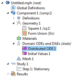 model tree showing the Distributed ODE 1 stationary study