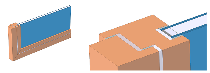A diagram and zoom-in depicting a window frame cross section and glazing