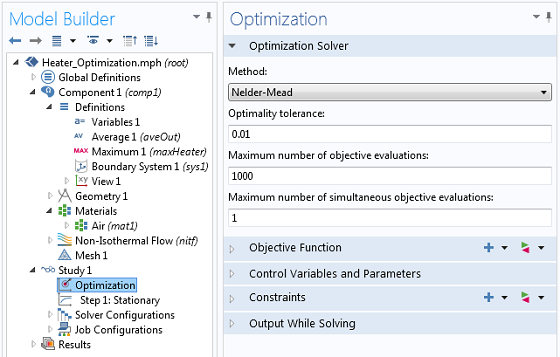 Nelder-Mead optimization settings window