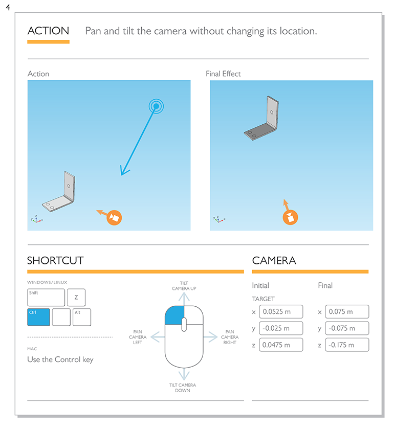 Diagram of a camera shortcut that changes the tilt and pan of the camera