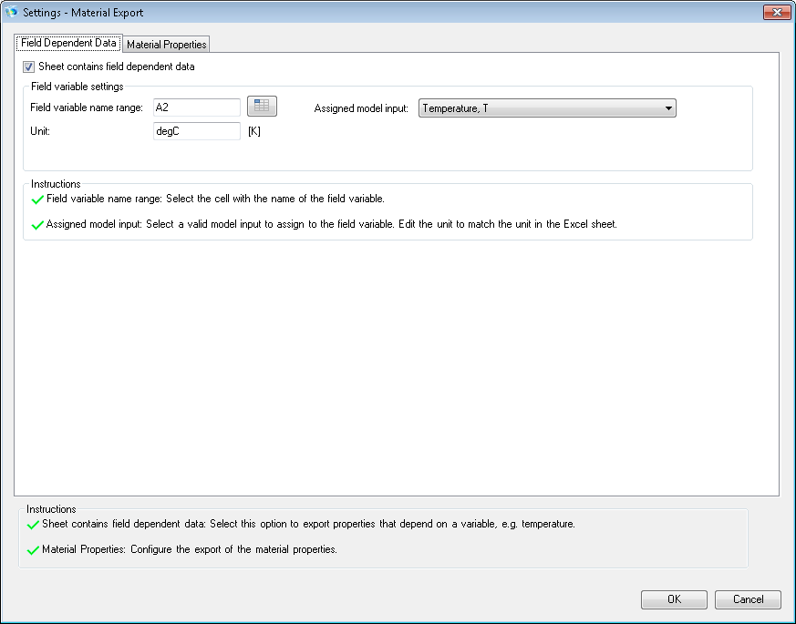 Field Dependent Data tab in the Settings window