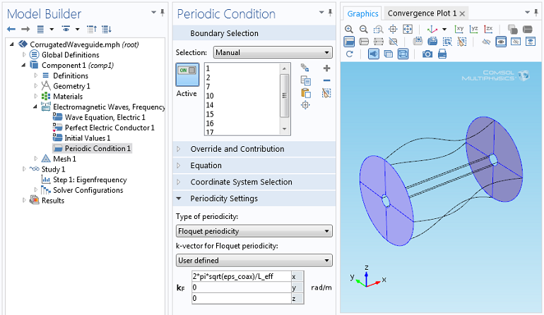 Screenshot of the Floquet periodic boundary condition interface