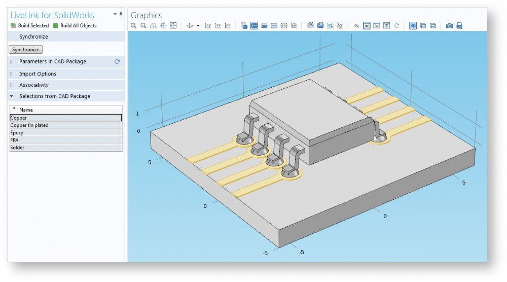 Inspecting selections with the Selections from CAD Package section
