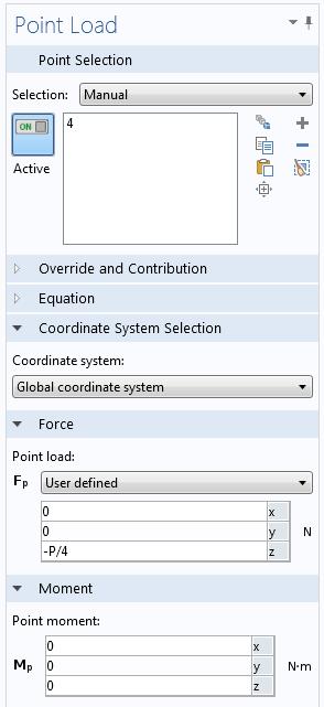 Point Load settings window