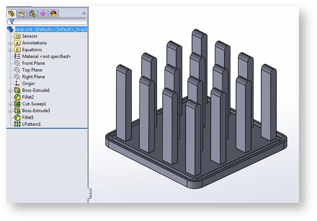 Simple heat sink design in SolidWorks