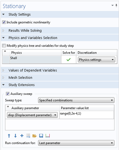 Stationary solver settings window