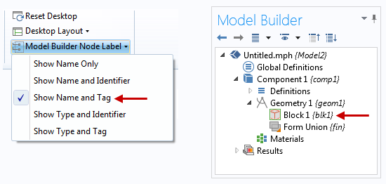 Tags displayed in the Model Builder