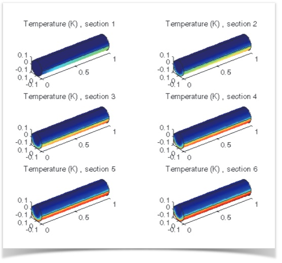 An image showing the temperature distribution along channel length where the inlet is the left boundary of section 1