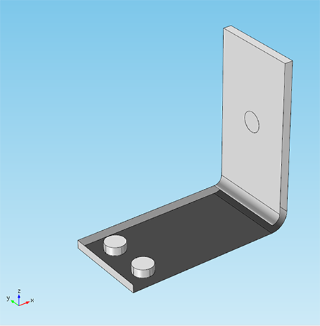 Screenshot of a busbar model where chosen faces are invisible
