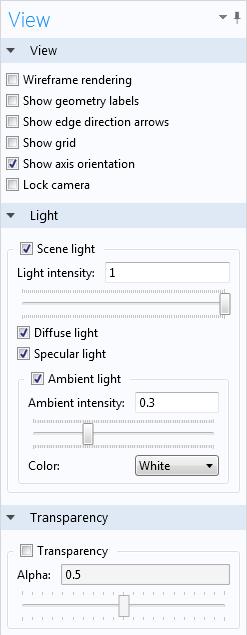 Screenshot of the View settings