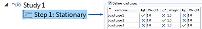 A snapshot showing how you can set up three load cases and solve the model