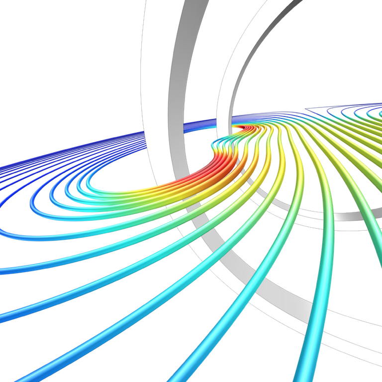 An alternate view of the Helmholtz coil results in COMSOL Multiphysics.