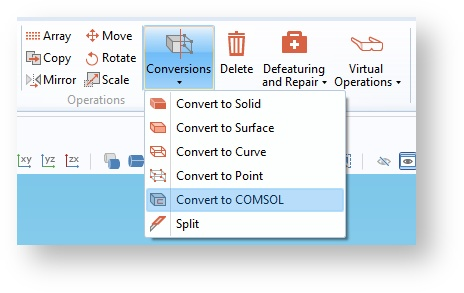Screenshot of the Convert to COMSOL operation found in the Geometry toolbar