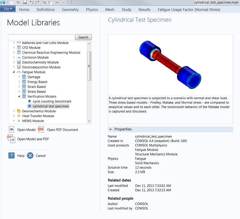 Screenshot of the Cylindrical Test Specimen model as seen in the Model Library