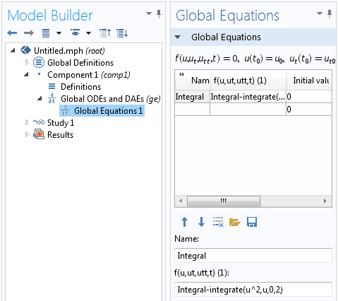 Screenshot of the Global Equation interface  in COMSOL Multiphysics