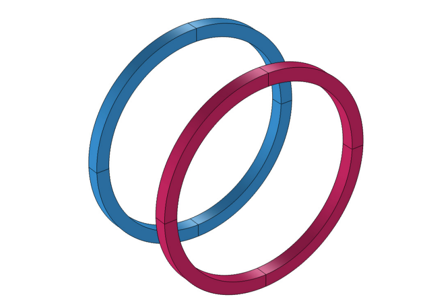 A geometry of two Helmholtz coils.