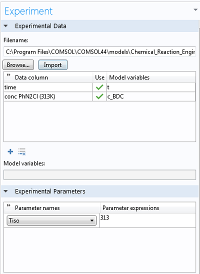Importing experimental data in Experiment settings window