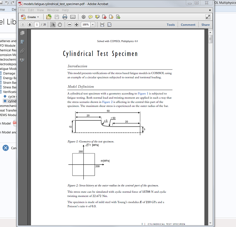 Screenshot of a PDF with step-by-step instructions on how to build models in COMSOL Multiphysics