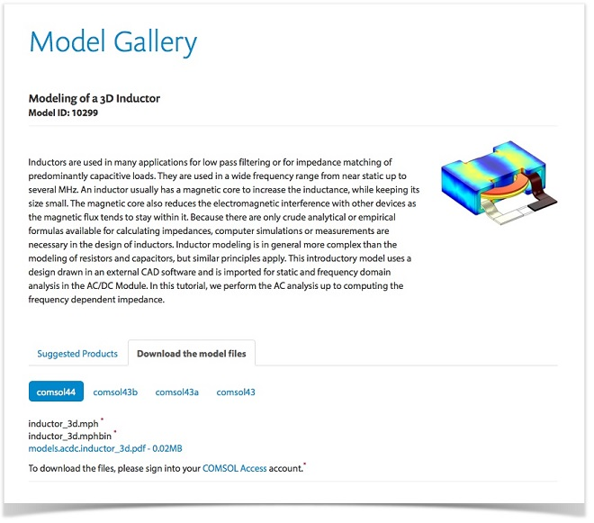Screenshot of the Modeling of a 3D Inductor model entry in the COMSOL Model Gallery