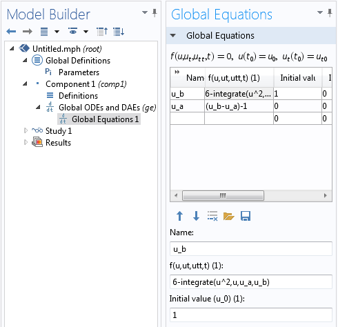 Screenshot of the Global Equations interface to show that another equation is necessary for specifying the upper and lower limits  of the interval