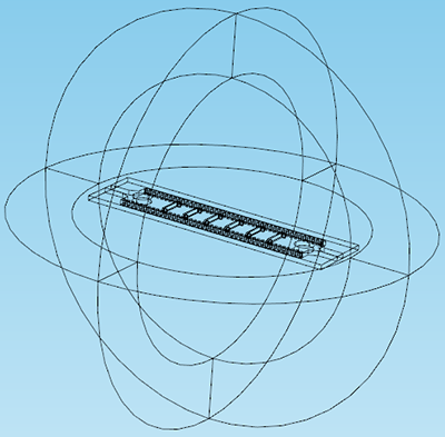 COMSOL Multiphysics antenna model with geometric entities hidden