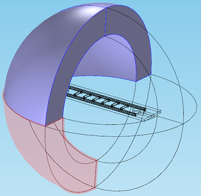 Antenna geometry with circular domains selected