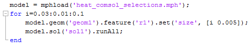 Code that loads a MPH file and runs a for loop on model parts that have been changed