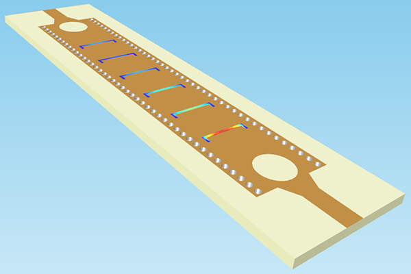 Geometry of the copper microstrip where it is shown the electric field is highest at the input