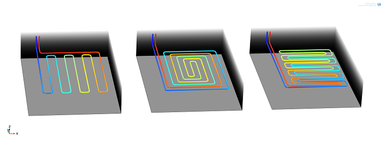 Geometries of the  three designs for a geothermal heat collector system that was created with COMSOL Multiphysics