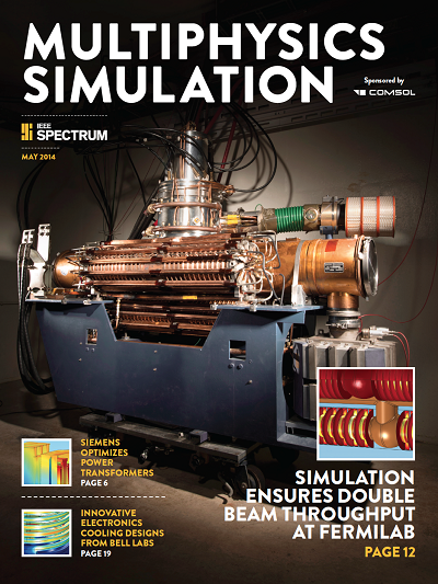 Cover of the 2014 edition of IEEE Spectrum Multiphysics Simulation insert