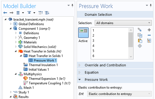 Screenshot of the Pressure Work subfeature