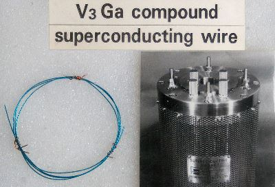 Photograph of an example of a superconducting wire commonly used in magnets