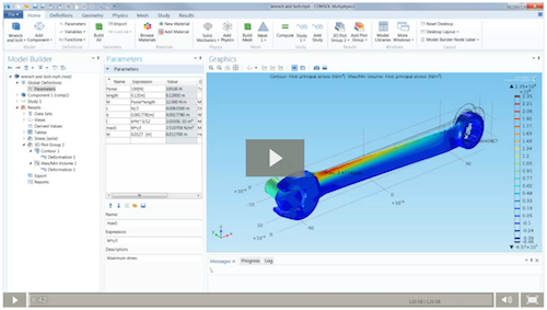 Video thumbnail, Modeling Stresses and Strains in COMSOL Multiphysics