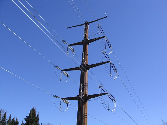 A three-phase power transmission line with two dead-end assemblies