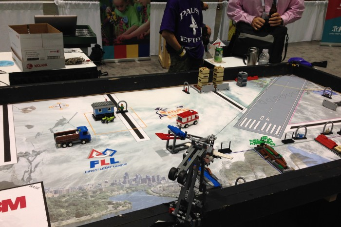The FLL playing field in action.
