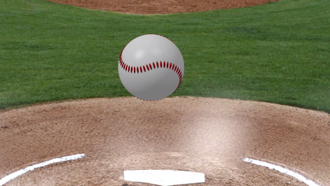 Physics behind baseball pitches example showing a fastball mid-air.