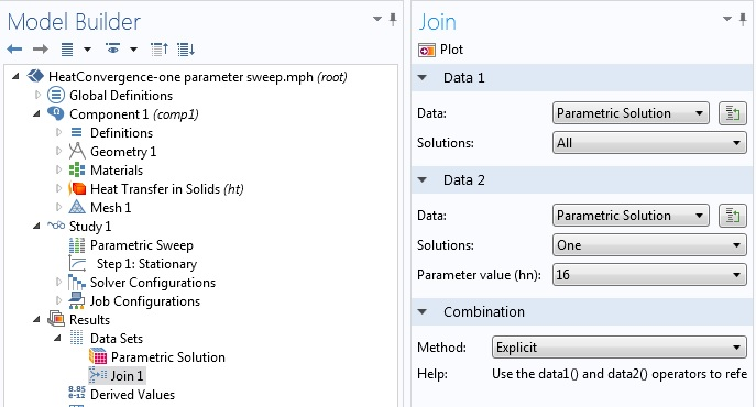 Screenshot of joining a parametric solution in COMSOL Multiphysics