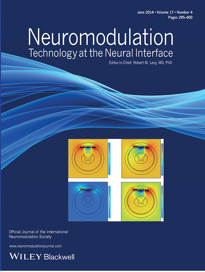 The cover of the June 2014 volume of Neuromodulation featuring model from spinal column stimulation.