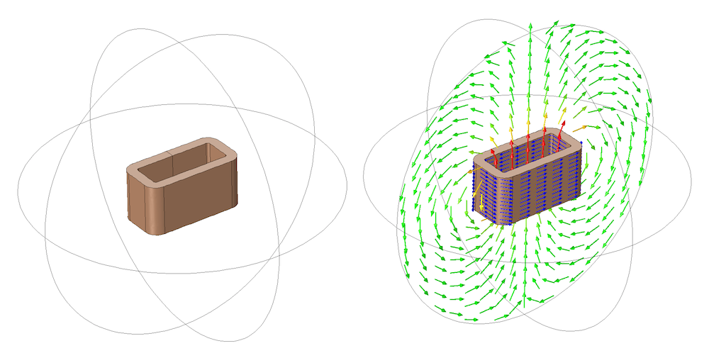 Magnetic Field Modeling: Square coil.