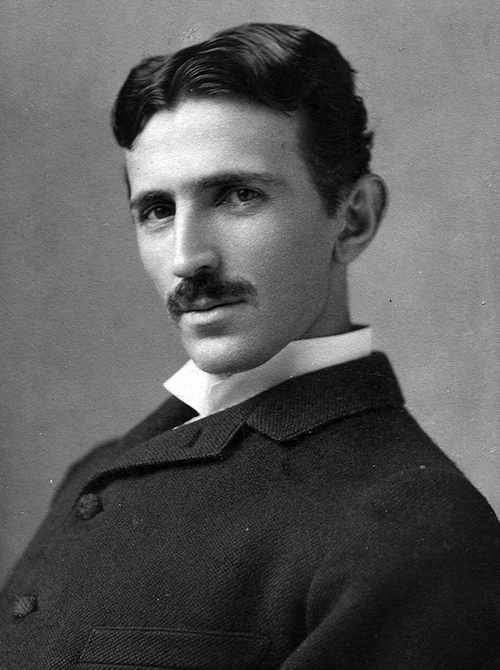 Portrait photo of Nikola Tesla, circa 1890