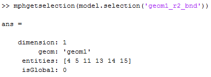 Result of mphgetselection function
