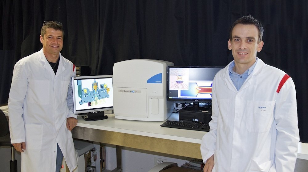 In the lab: Didier Crémien and Damien Isèbe of HORIBA Medical.