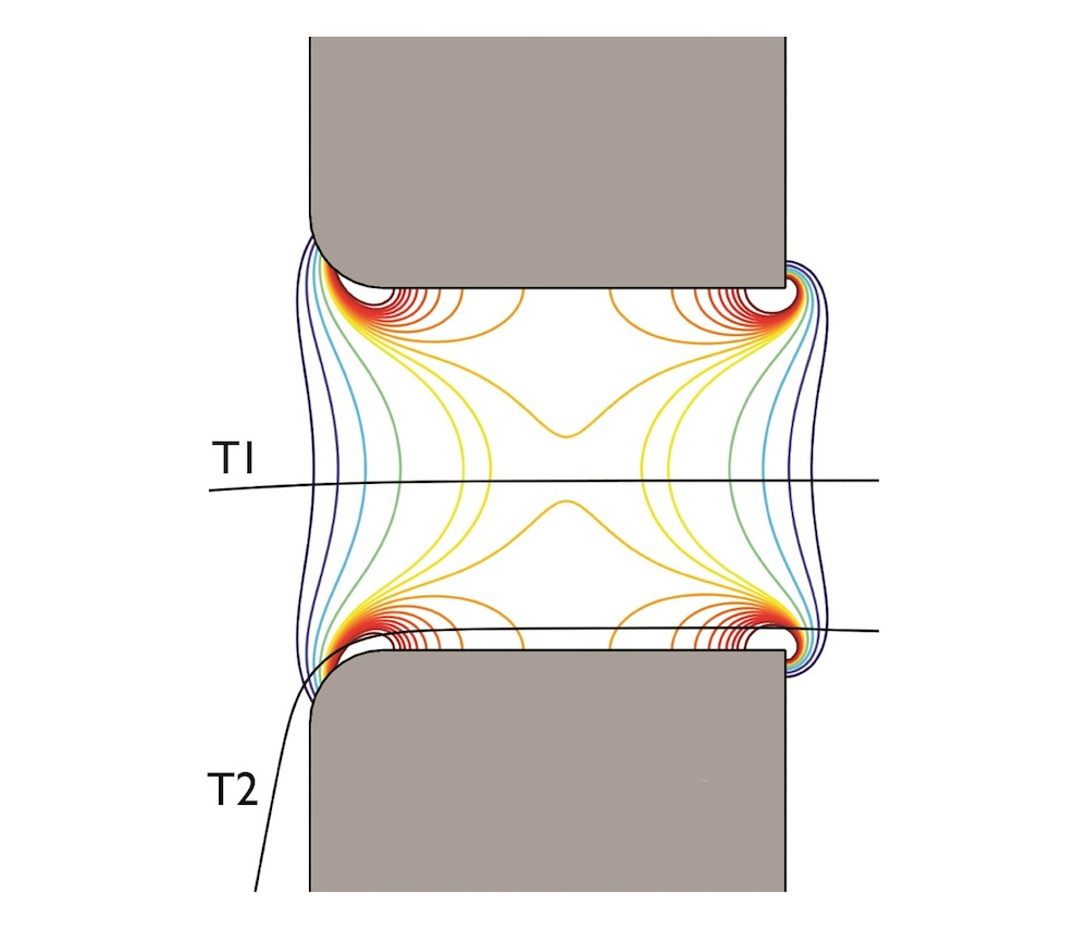 Visualizing the different electrical fields of two particles with different trajectories.